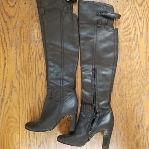 Sam Edelman Black Leather Over-The-Knee Boots